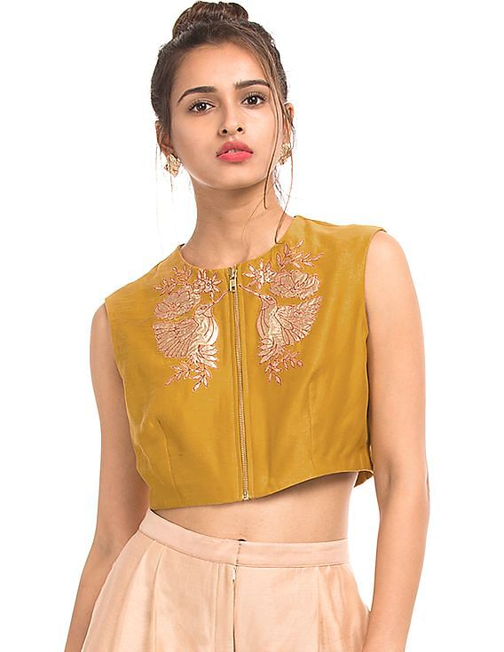 FLAT 50% Off on Designer Brands - Women By Nnnow | AIMAN Embroidered Crop Top @ Rs.1,295