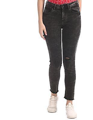 U.S. Polo Assn. Women Black Super Skinny Fit Acid Wash Jeans