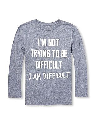 The Children's Place Boys Long Sleeves 'I'm Not Trying To Be Difficult I Am Difficult' Graphic Tee