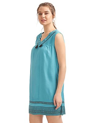 Bronz Embroidered Yoke Tassel Trim Tunic