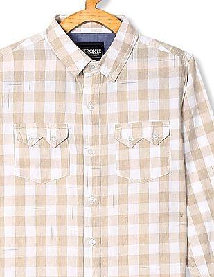 Cherokee Beige And White Boys Barrel Cuff Check Shirt