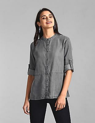GAP Grey Mandarin Neck Washed Shirt