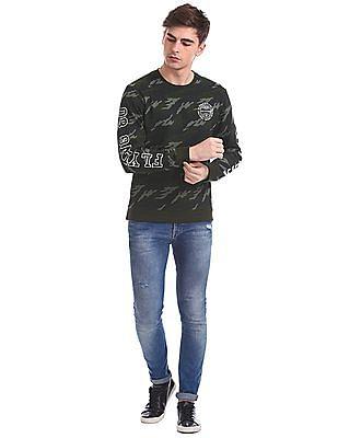 Flying Machine Full Sleeve Camo Print Sweatshirt