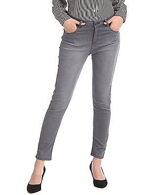 SUGR Grey Mid Waist Washed Jeans