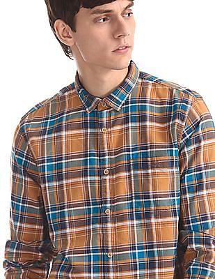 Cherokee Orange Mitered Cuff Check Shirt