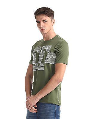 Colt Green Crew Neck Numeric Print T-Shirt