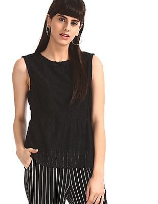 SUGR Black Sleeveless Lace Top
