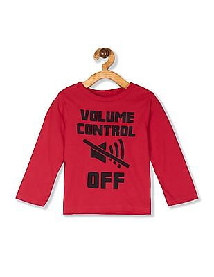 The Children's Place Baby And Toddler Boy Red Long Sleeve 'Volume Control Off' Graphic Tee
