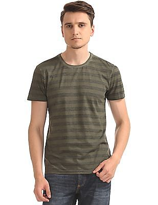 Arrow Blue Jeans Company Striped Round Neck T-Shirt
