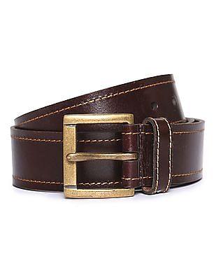 U.S. Polo Assn. Contrast Stich Leather Belt