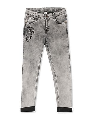 Cherokee Grey Girls Embroidered Washed Jeans