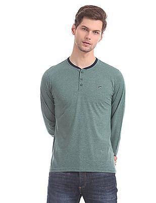 Ruggers Green Heathered Henley T-Shirt