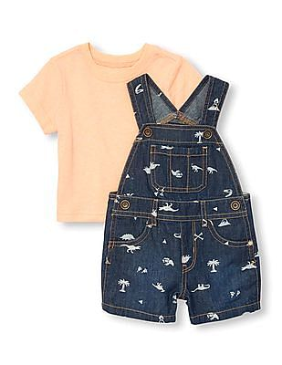 The Children's Place Toddler Girl Blue Dino Print T-Shirt And Dungarees Set