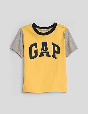 GAP Boys Yellow Colour Block Logo T-Shirt