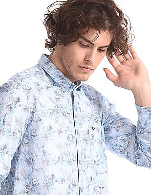 Roots by Ruggers Blue Floral Print Mitered Cuff Shirt
