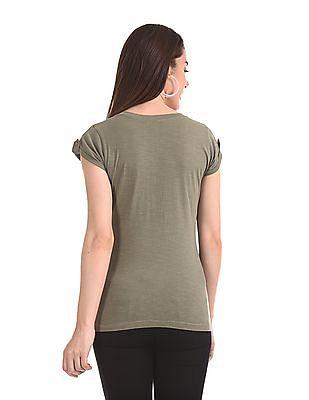 Flying Machine Women Roll Up Sleeve Printed T-Shirt