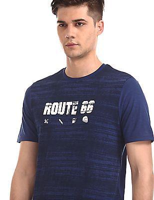 Cherokee Blue Round Neck Graphic T-Shirt