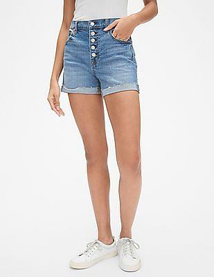 "GAP High Rise 4"" Button-Fly Denim Shorts"