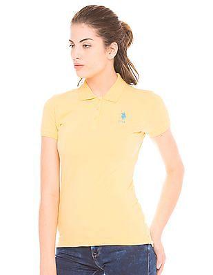 U.S. Polo Assn. Women Solid Regular Fit Polo Shirt