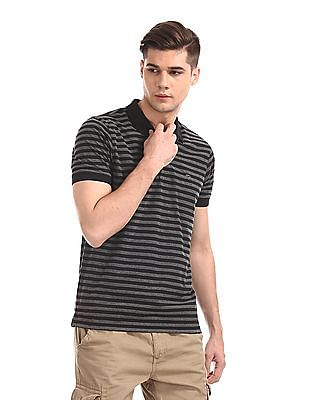 Ruggers Black And Grey Short Sleeve Striped Polo Shirt