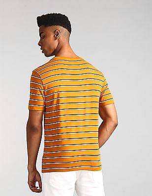 GAP Brown V-Neck Striped T-Shirt