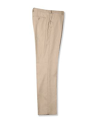 Excalibur Beige Classic Regular Fit Solid Trousers