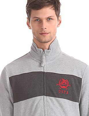 U.S. Polo Assn. Grey Cut And Sew Panel High Neck Sweatshirt