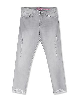 The Children's Place Grey Girls Step Hem Distressed Denim Jeans