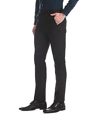 Arrow Black Tapered Fit Tonal Check Trousers