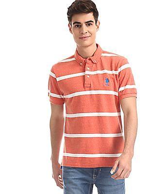 U.S. Polo Assn. Orange Button Down Collar Striped Polo Shirt
