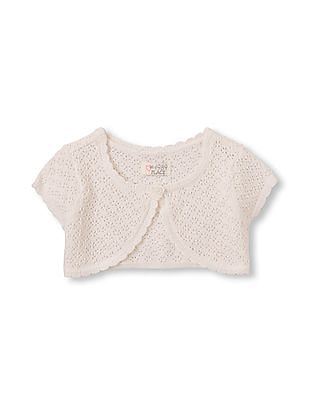 The Children's Place Toddler Girl Short Sleeve Pointelle Knit Cropped Cardigan