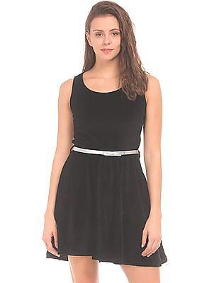 SUGR Belted Velvet Fit And Flare Dress