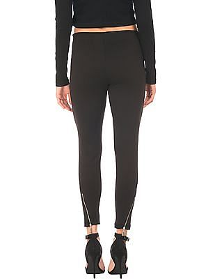 Elle Solid Zipper Hem Treggings