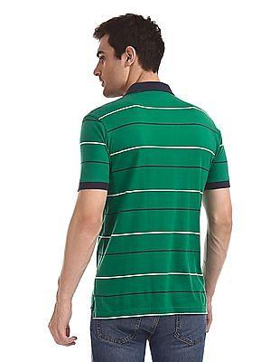 Flying Machine Short Sleeve Striped Polo Shirt