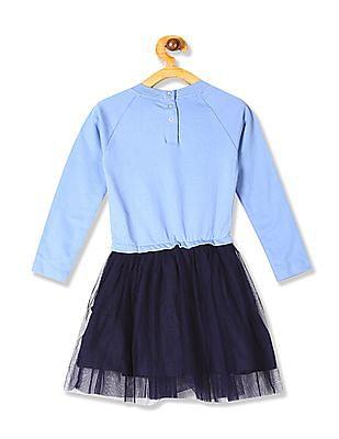 Cherokee Blue Girls Raglan Sleeve Fit And Flare Dress