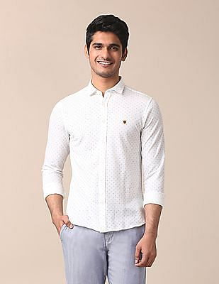 True Blue Contrast Print Knit Shirt