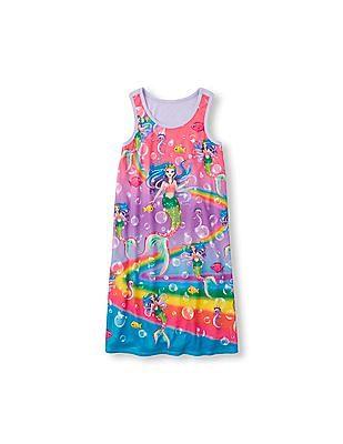 The Children's Place Girls Sleeveless Rainbow Mermaid Print Nightgown