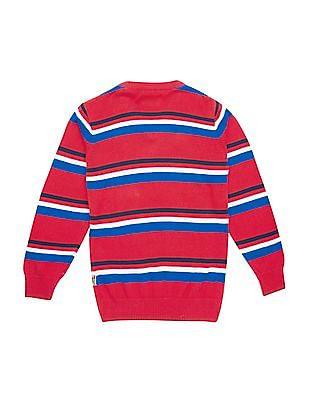 FM Boys Boys Slim Fit Striped Sweater