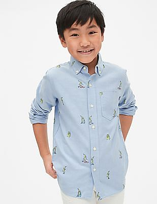 GAP Boys Oxford Print Long Sleeve Shirt