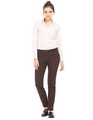 Arrow Woman Striped Tapered Fit Trousers