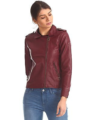 Flying Machine Women Solid Biker Jacket