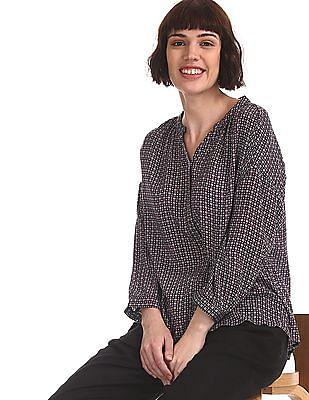 U.S. Polo Assn. Women Blue Mandarin Neck Printed Shirt