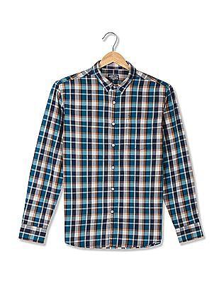 Flying Machine Blue Long Sleeve Checked Shirt
