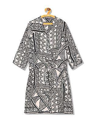 Arrow Woman Regular Fit Printed Faux Wrap Dress