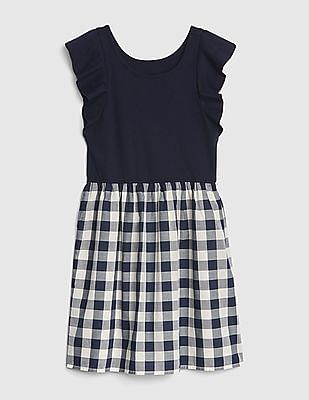 GAP Girls Flutter Plaid Mix-Fabric Dress