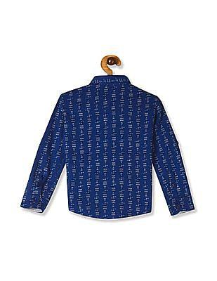 Cherokee Blue Boys Knit Printed Shirt