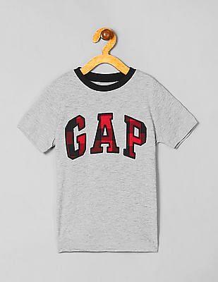 GAP Boys Buffalo Plaid Logo Tee