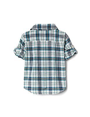 GAP Baby Green Plaid Flannel Convertible Shirt