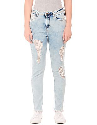 EdHardy Women High Rise Crochet Panel Jeans