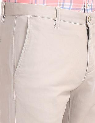 U.S. Polo Assn. Beige Austin Trim Regular Fit Flat Front Trousers